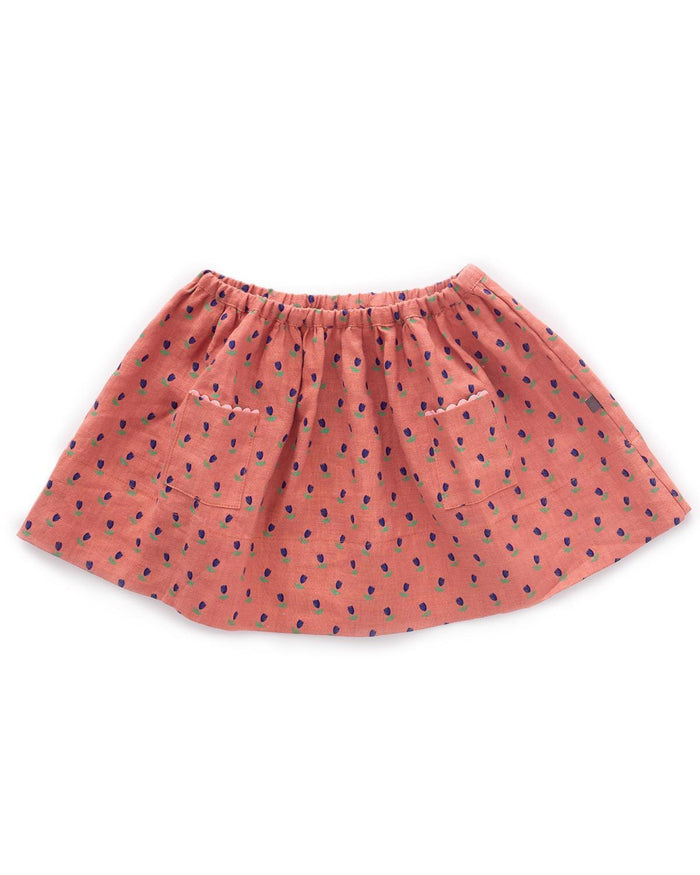 Little oeuf girl 2 skirt in rust + tulip