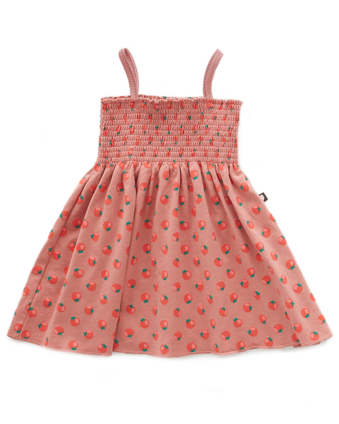 Little oeuf girl smock dress in tomato print + rose dawn
