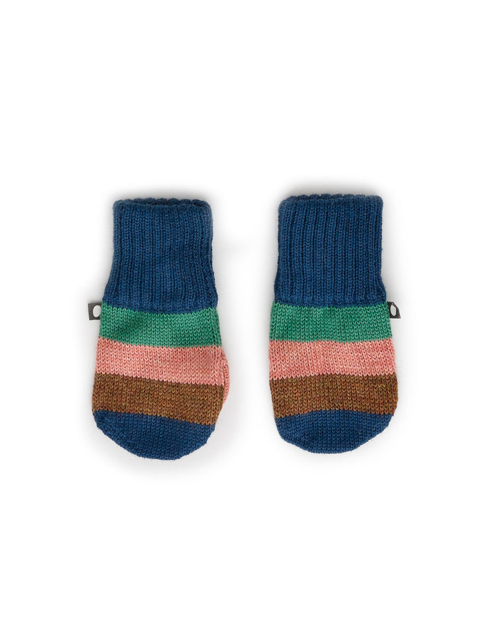 Little oeuf baby accessories striped mittens in indigo