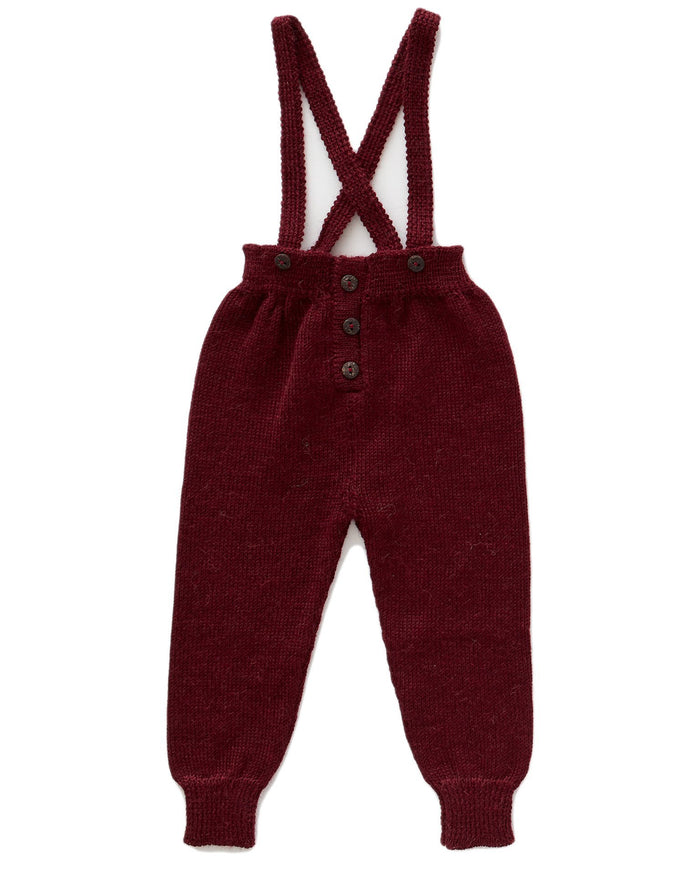 Little oeuf boy suspender pants in burgundy