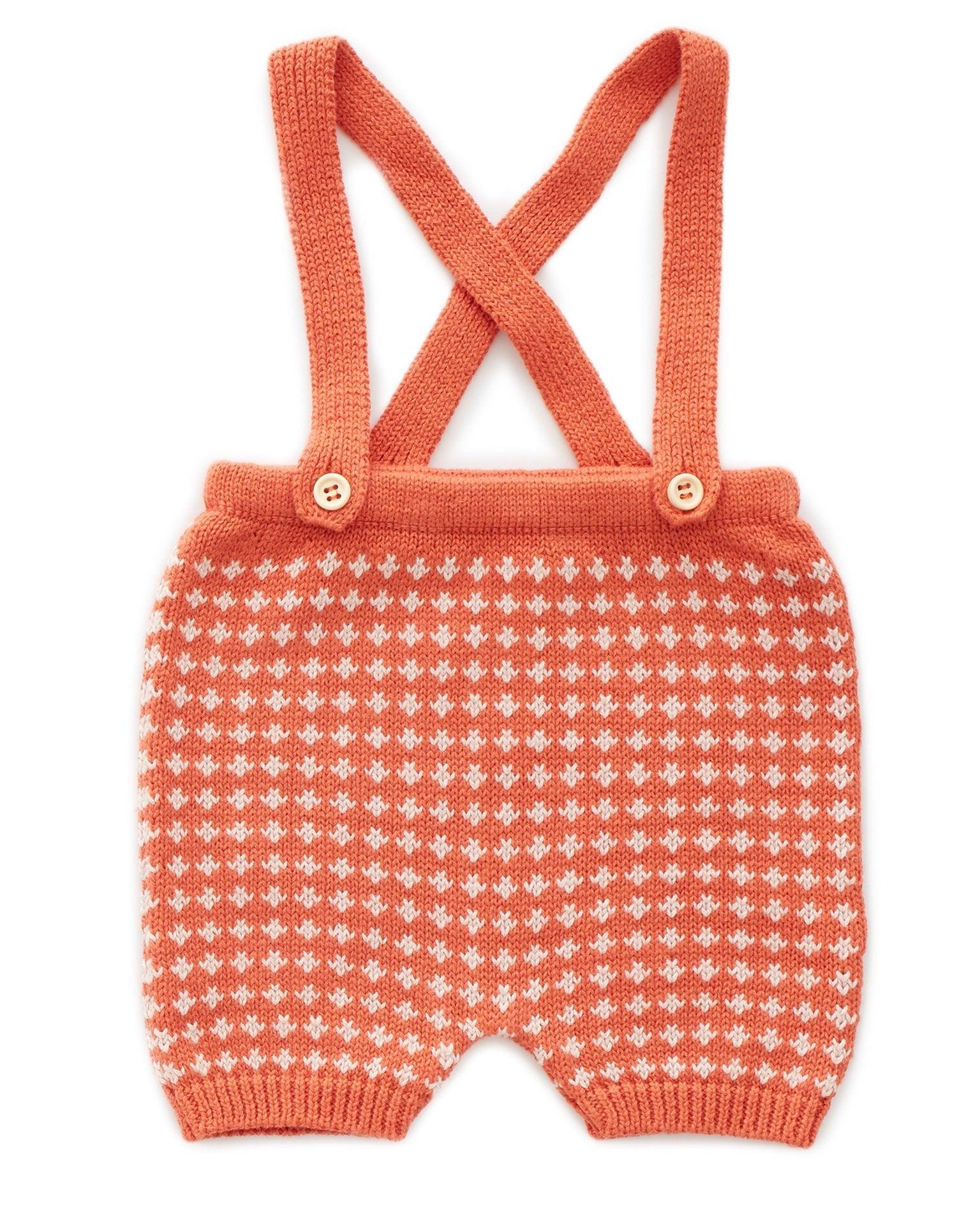 Little oeuf baby girl suspender shorts in autumn glaze + coral almond
