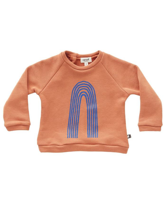 Little oeuf girl sweatshirt in sunburn + ocean rainbow