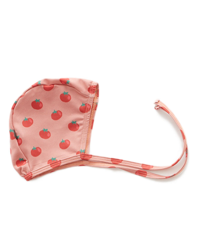 Little oeuf baby girl swim bonnet in tomato print