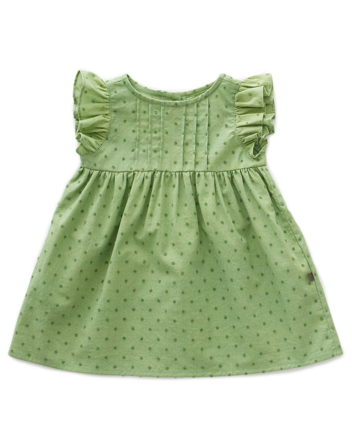 Little oeuf girl swiss dot dress in green