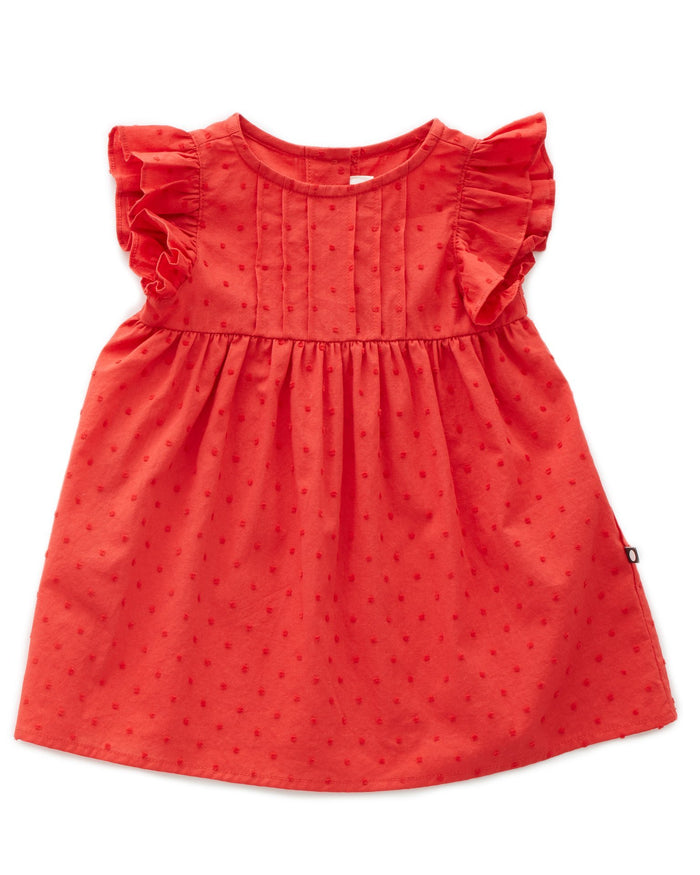 Little oeuf girl swiss dot dress in paparika