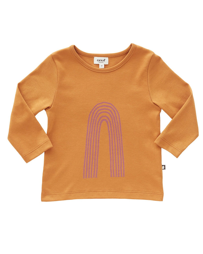 Little oeuf girl tee in ochre + mauve rainbow