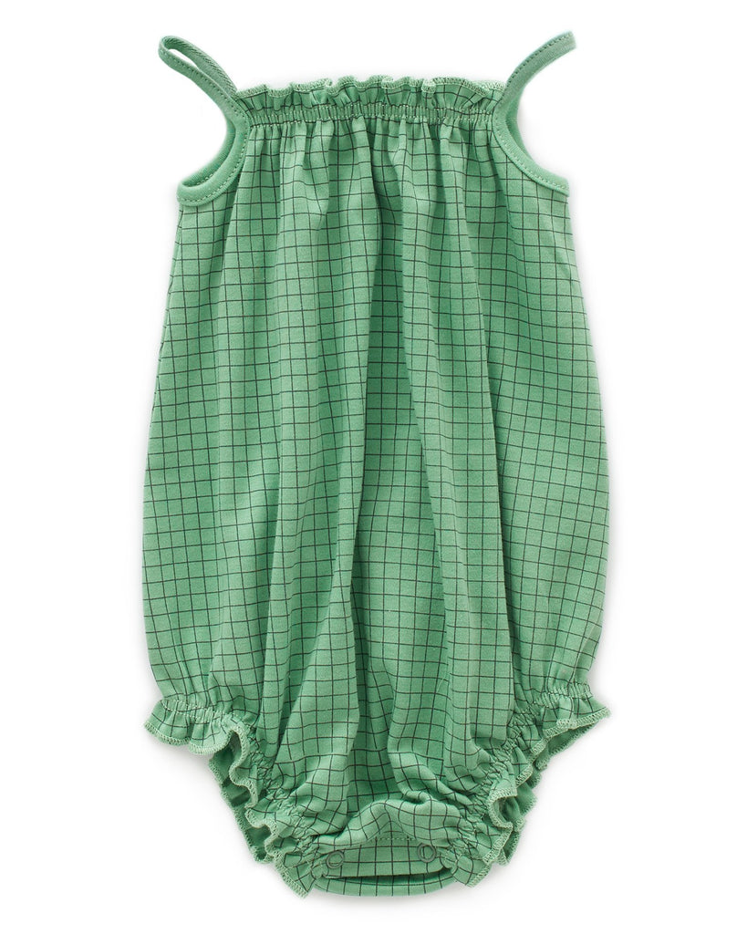 Little oeuf baby girl tie strap romper in green checks