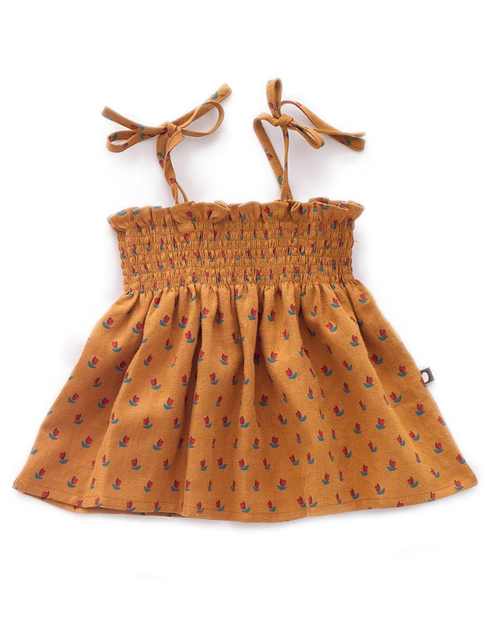 Little oeuf baby girl 6m tie strap top in ochre + tulip
