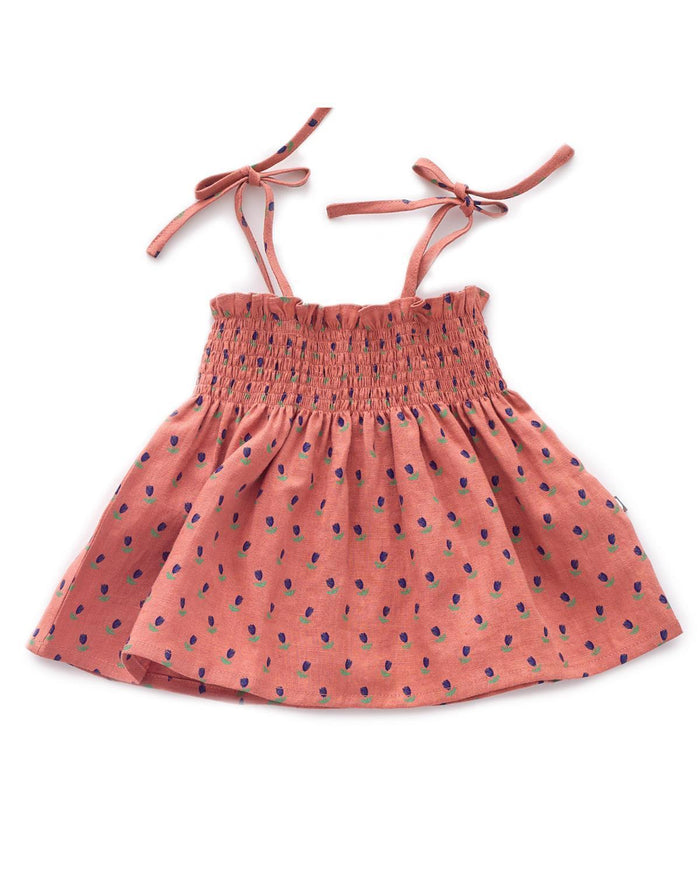 Little oeuf baby girl 6m tie strap top in rust + tulip