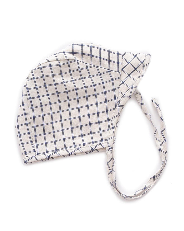 Little oeuf baby accessories 6m visor hat in blue checks