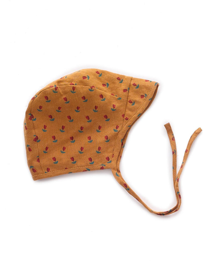 Little oeuf baby accessories 6m visor hat in ochre + tulip