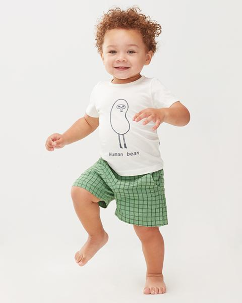 Little oeuf girl woven shorts in green checks