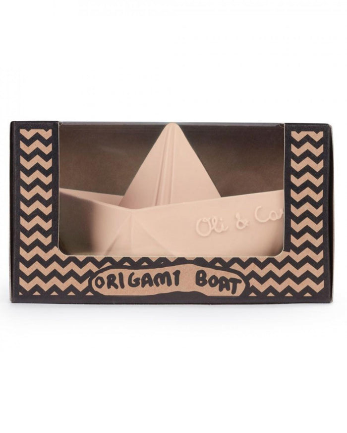 Little oli + carol play origami boat in a box in nude