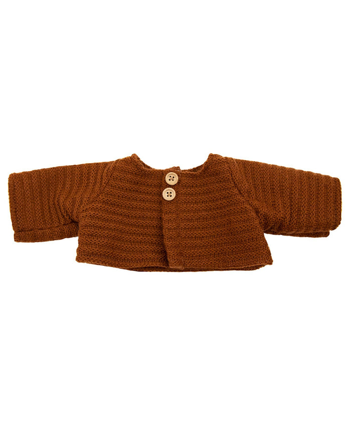 Little olli ella usa play dinkum doll cardigan in chestnut
