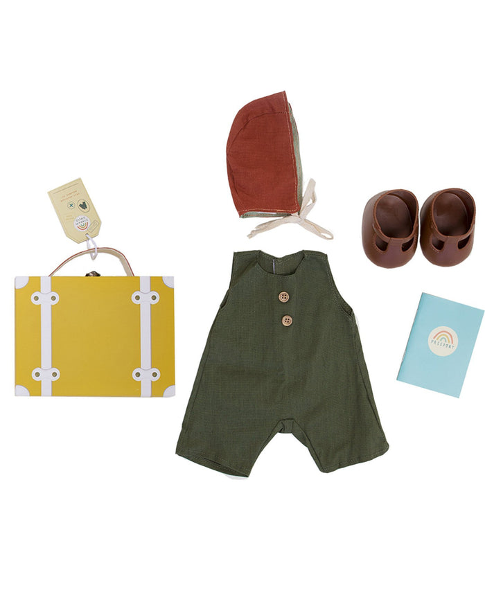 Little olli ella usa play dinkum doll travel togs in mustard