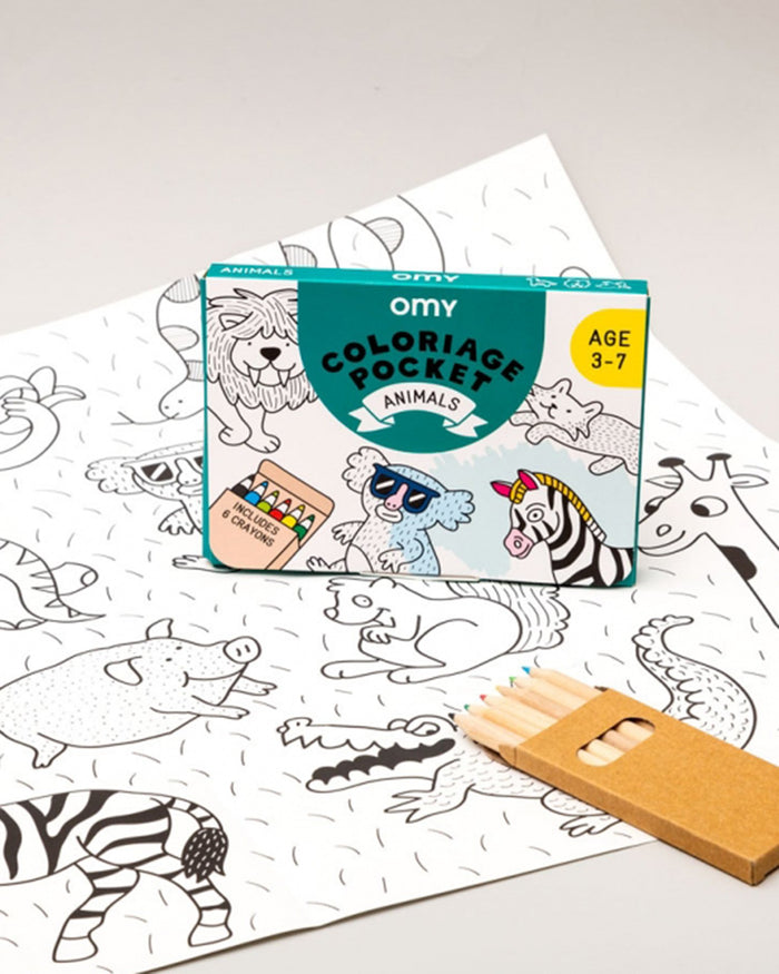 Little omy play animals pocket coloring pocket