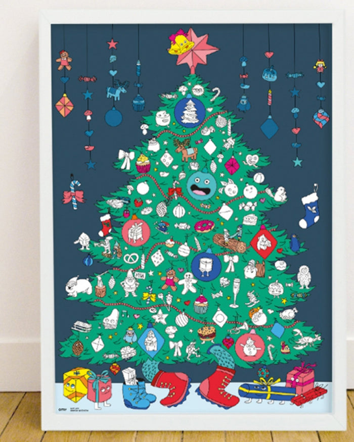 Little omy play christmas tree sticker poster