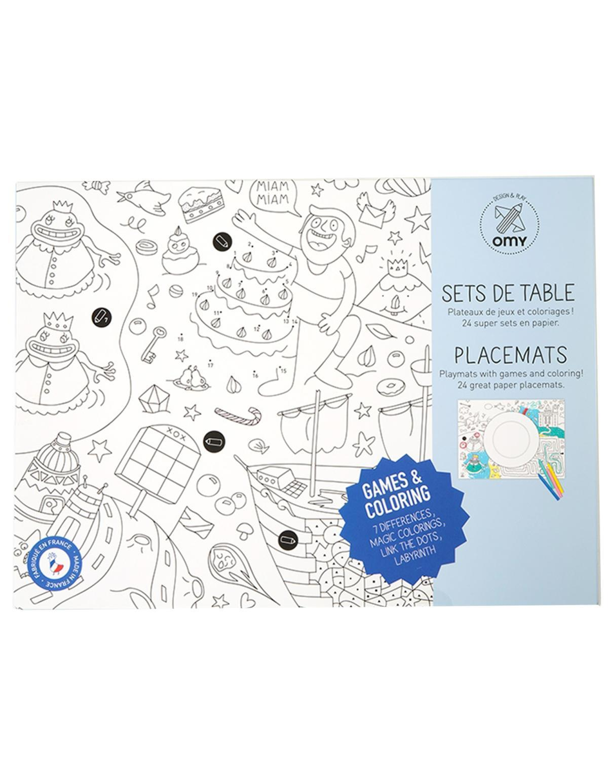 Little omy play Games Coloring Placemats