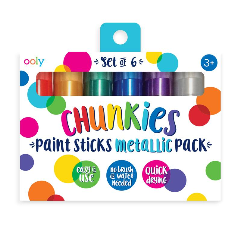 Little ooly play chunkies paint sticks metallic - set of 6