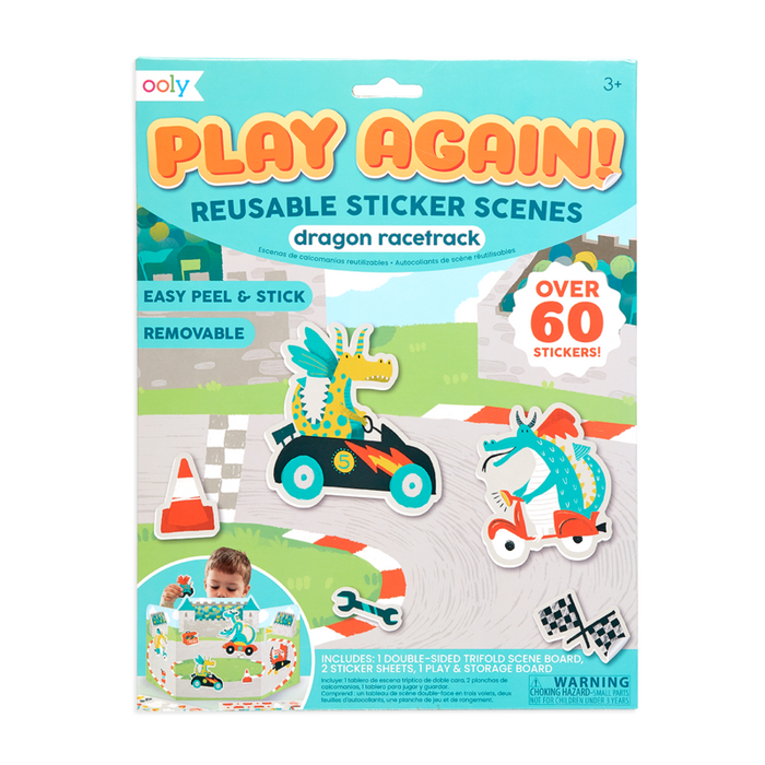 Little ooly play Play Again! Reusable Sticker Scenes - Dragon Racetrack