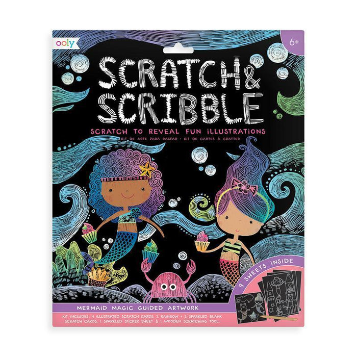 Little ooly play Scratch & Scribble Art Kit: Mermaid Magic - 10 Piece Set