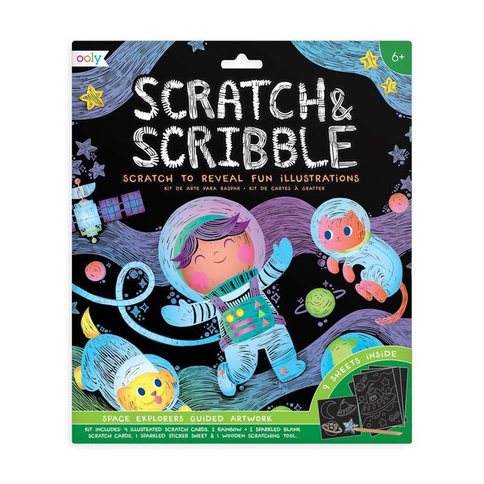 Little ooly play scratch & scribble art kit: space explorers - 10 piece set