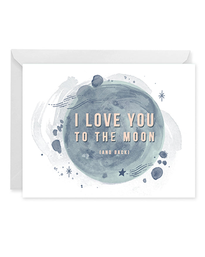 Little paper raven co. paper+party i love you to the moon card