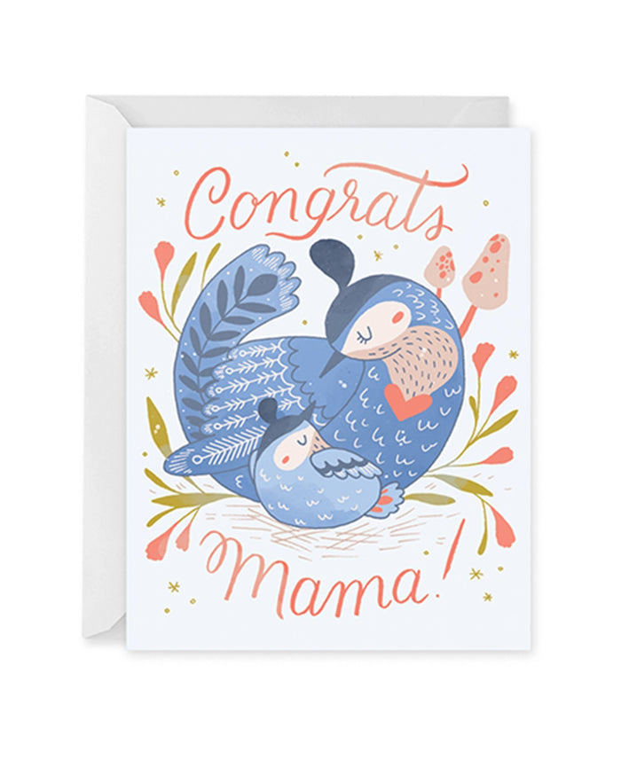 Little paper raven co. paper+party new mama bird card