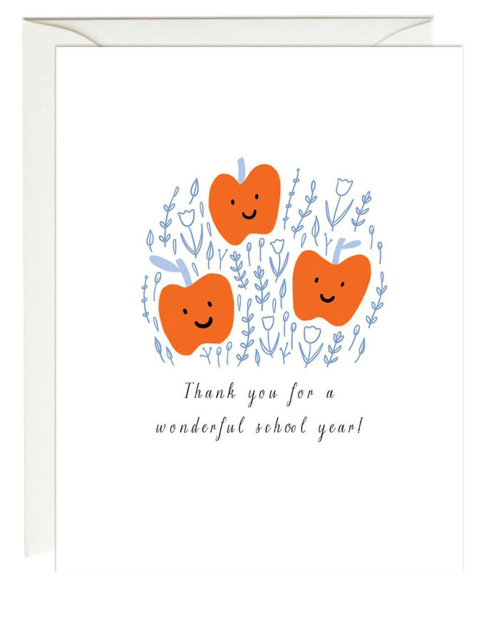 Little paula + waffle paper+party apple trio thank you card