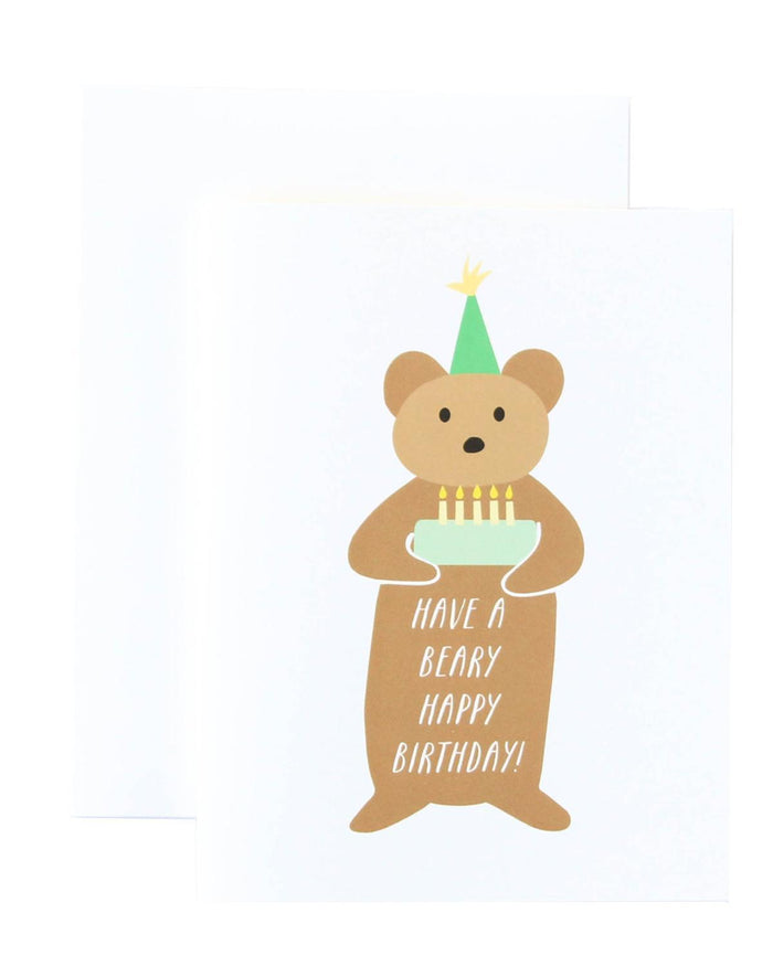 Little paula + waffle paper+party Beary Birthday Card