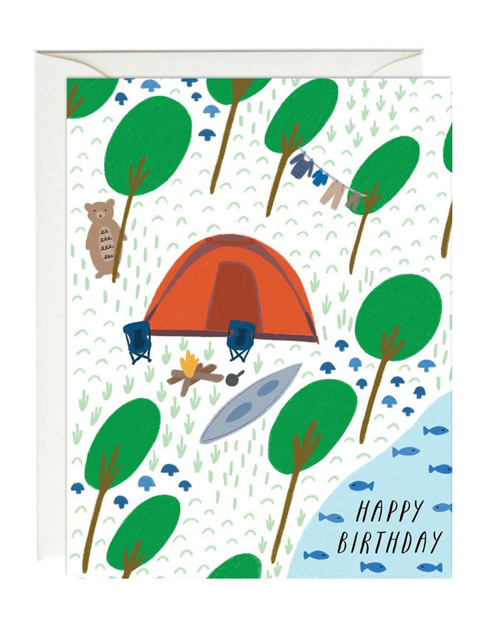 Little paula + waffle paper+party birthday camping card