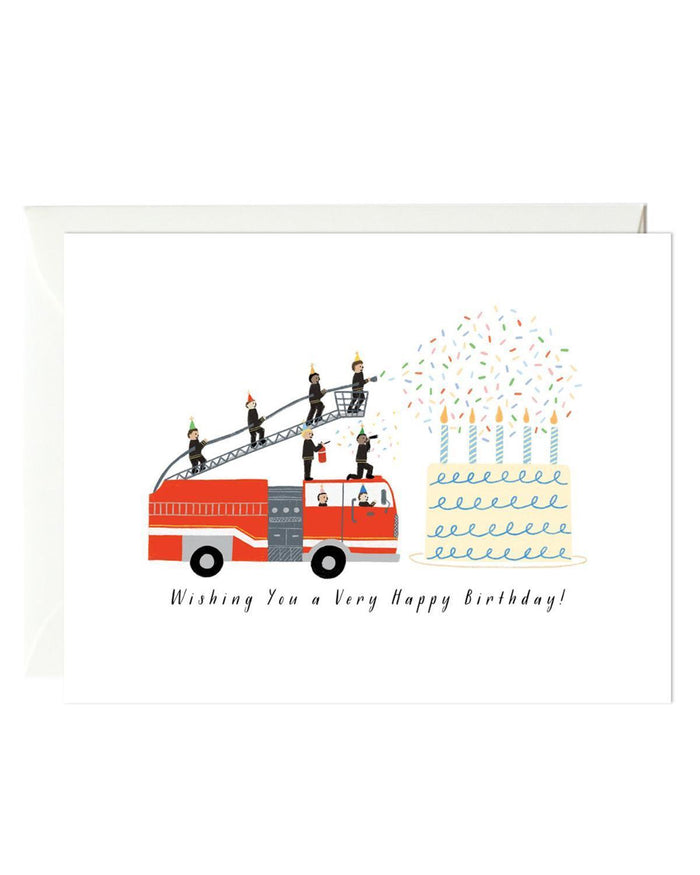 Little paula + waffle paper+party birthday firetruck card