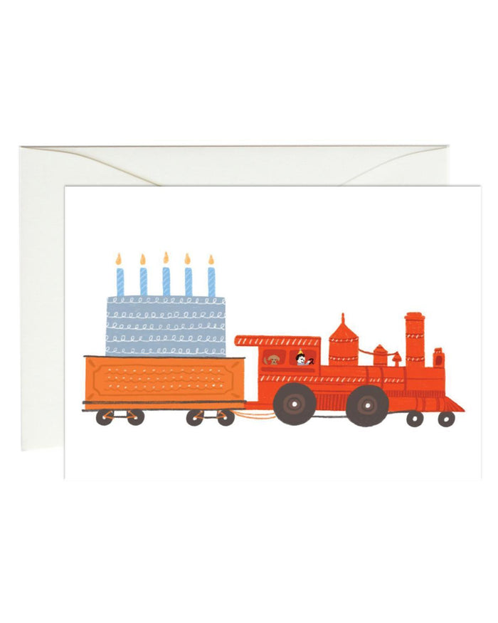 Little paula + waffle paper+party birthday train mini card