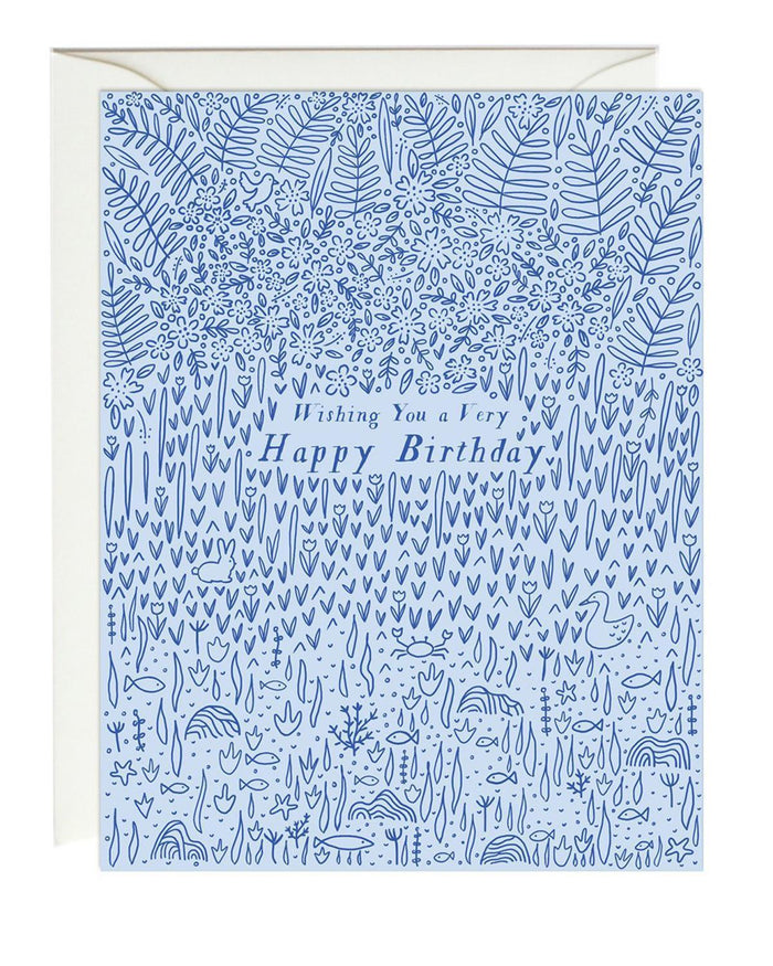 Little paula + waffle paper+party blue fauna birthday card