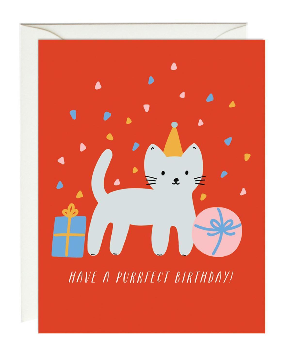 Little paula + waffle paper+party cat birthday card