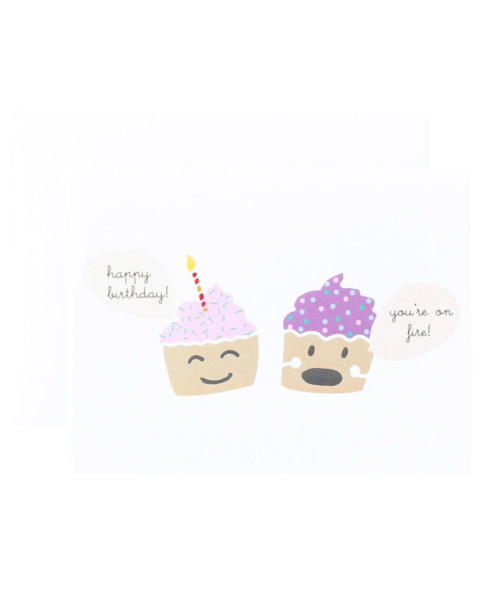Little paula + waffle paper+party You're on Fire Cupcake Card
