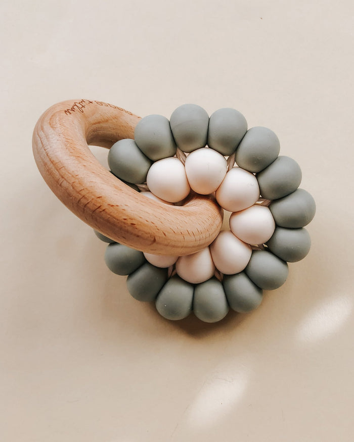 Little pretty please teethers baby accessories reed teething ring in eucalyptus