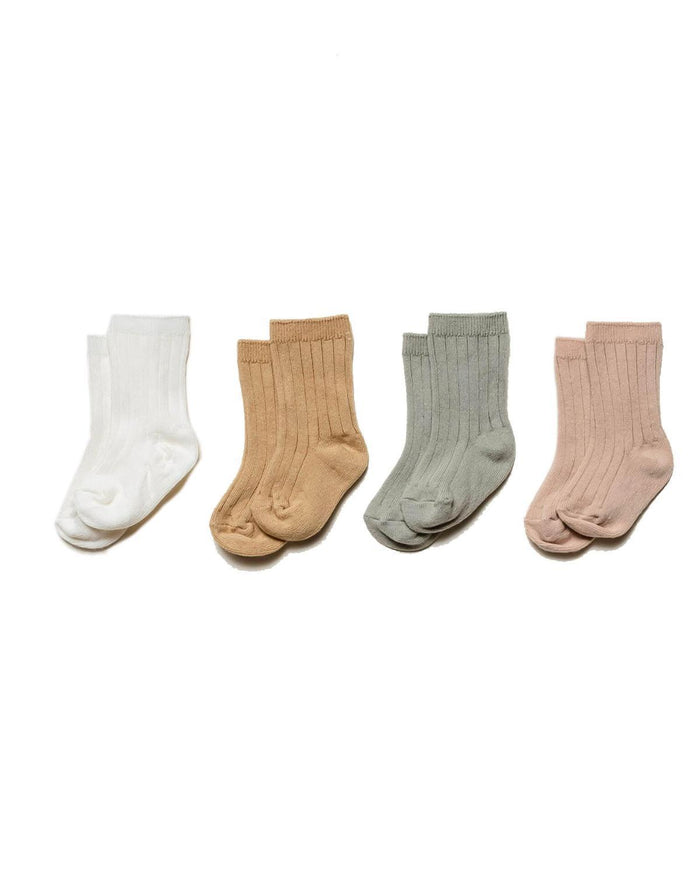 Little quincy mae accessories 0-6 baby socks 4 pack in ivory, sage, rose + honey