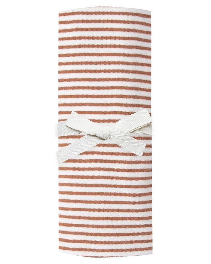 Little quincy mae baby accessories baby swaddle in rust stripe