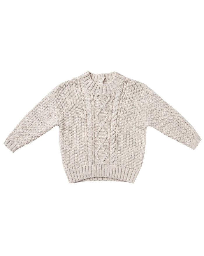 Little quincy mae baby girl cable knit sweater in pebble