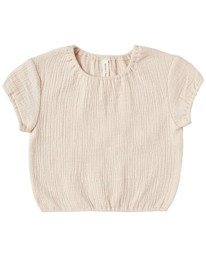 Little quincy mae baby girl cinched woven tee in natural