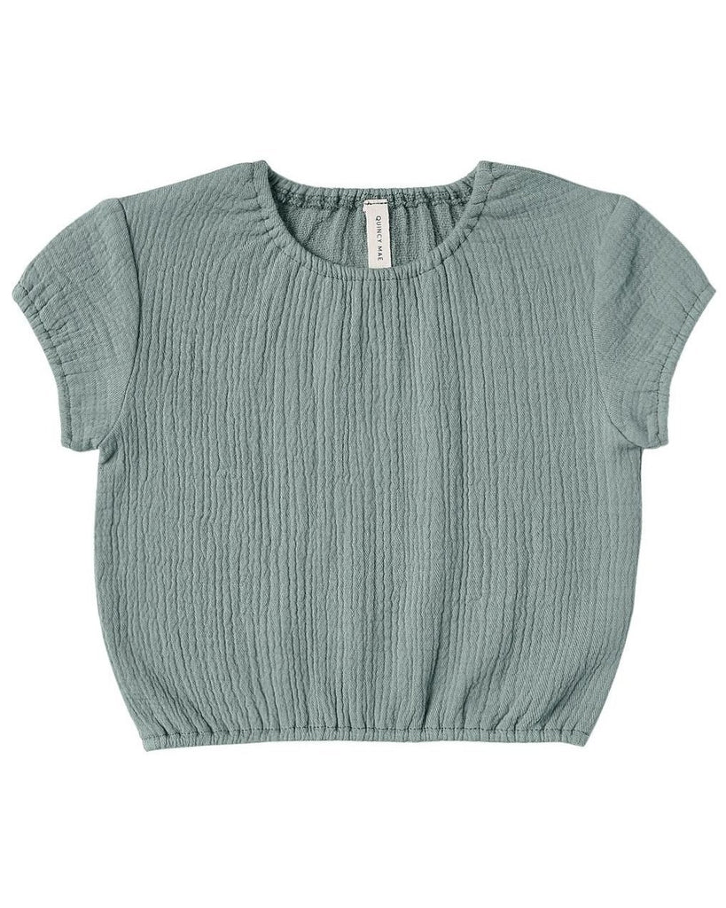 Little quincy mae baby girl cinched woven tee in ocean