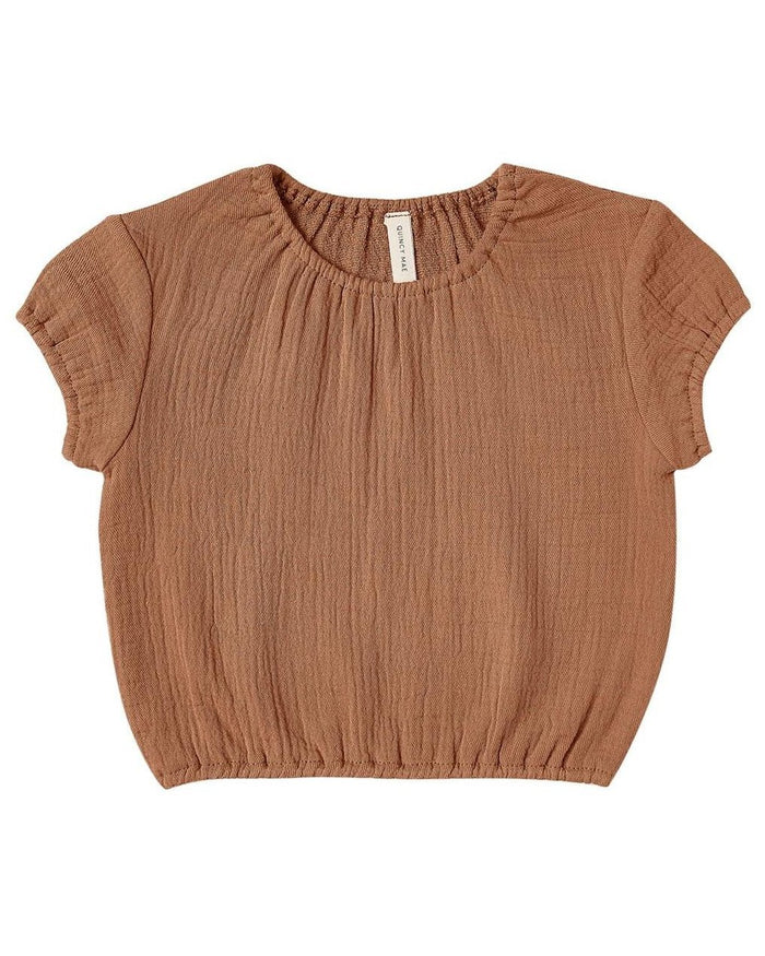 Little quincy mae baby girl cinched woven tee in rust