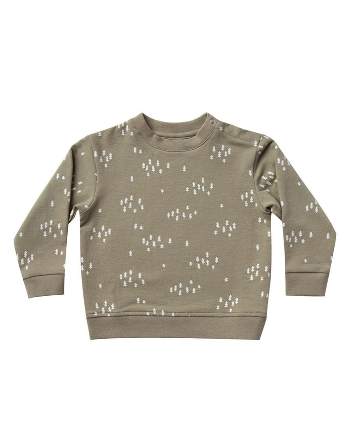 Little quincy mae baby girl fleece basic sweatshirt in olive