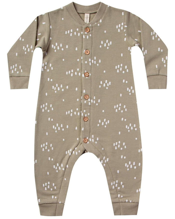 Little quincy mae baby girl fleece jumpsuit in olive