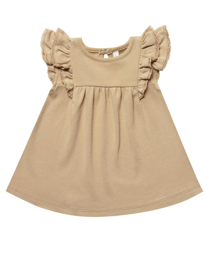 Little quincy mae baby girl 0-3 flutter dress in honey