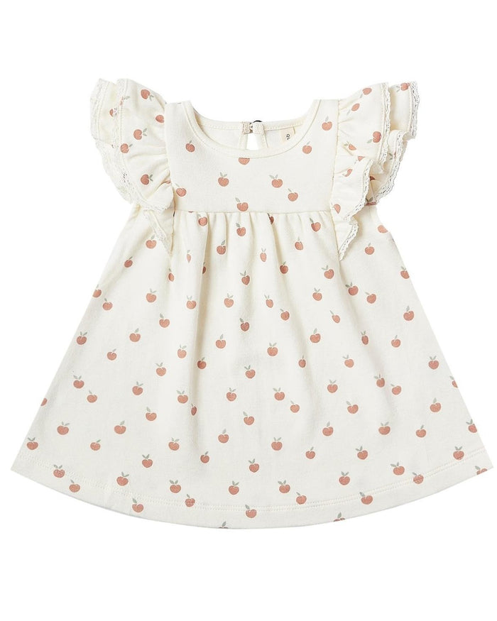 Little quincy mae baby girl flutter dress in ivory + peach