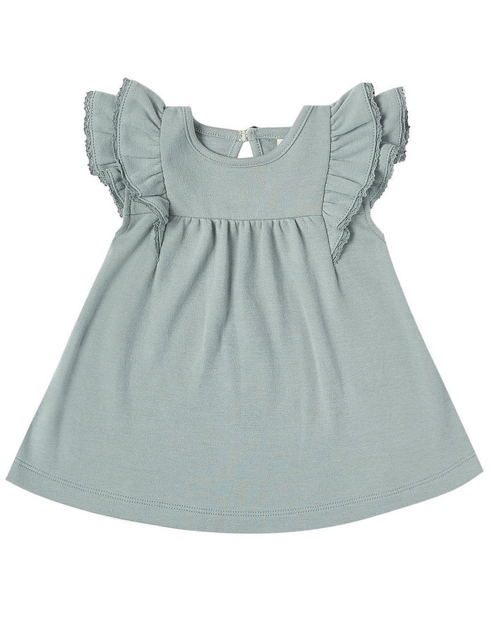 Little quincy mae baby girl flutter dress in ocean
