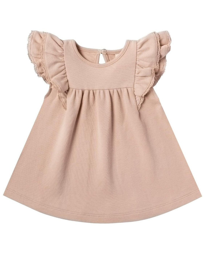 Little quincy mae baby girl flutter dress in petal