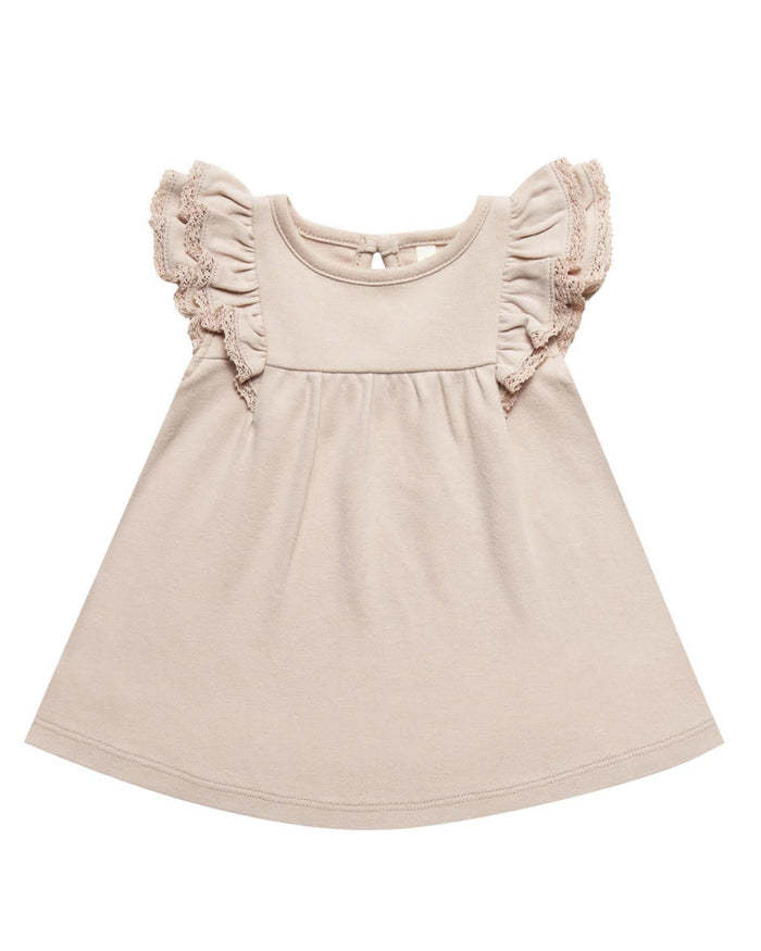 Little quincy mae baby girl 0-3 flutter dress in rose